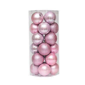 24Pcs jul starkt ljus Boll Ornaments Rosa