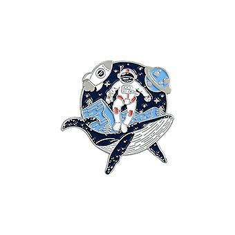 Astronaut og hval emalje pin, eventyr hav drifting, ønsker flaske