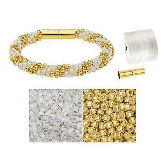 Refill - Splendid Spiral Kumihimo Armband i vitt och guld - Exklusivt Beadaholique Smycken Kit