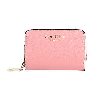 SENCILLEZ Genuine Leather RFID Protected Card Holder with Zipper Closure - Pink