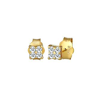 Diamore Women's Pin Earrings in Silver 925 with White Diamond 0.16ct, Brilliant Cut