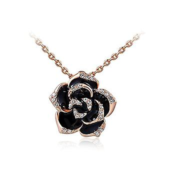Women's necklace in the shape of flower flower necklace flowers gold-plated pendant with black zircons, metal alloy, color: Ref. 4058433042179