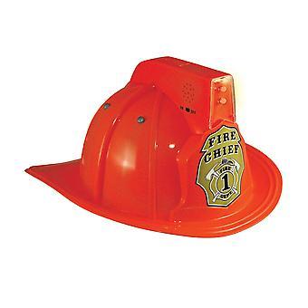 Fire Chief Fireman Firefighter Deluxe Boys Costume Helmet Hat with Light Siren