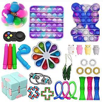 PRO 30 kpl. Fidget Pop it Toys Set -pakkaus lapsille ja aikuisille