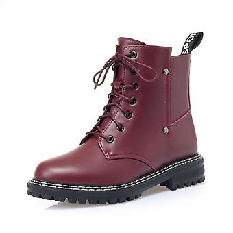 Genuine Leather Snow Boots, Women Wool Winter Boots