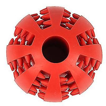 6Cm red pet dog rubber molar ball,round food leaking ball, chew tooth cleaning balls az8171