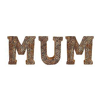 Håndskåret tre geometriske bokstaver mamma