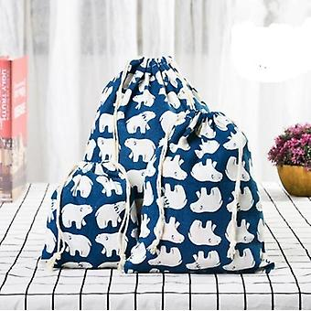 Animal Handmade Cotton Linen Travel Shoes Storage Package Drawstring Bags