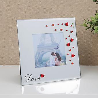 """4"""" x 4"""" - מסגרת תמונה מזכוכית עם לבבות דיאמנטה אדומים - אהבה"""