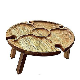 Mesa de picnic plegable al aire libre de madera con soporte de vidrio Redondo plegable vino de escritorio