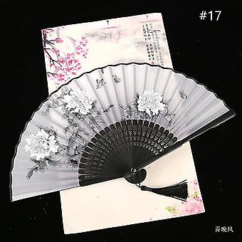Chinese Vintage Style Folding Fan Art Craft Gift Dance Hand Fan Home Decoration Ornaments(#17)