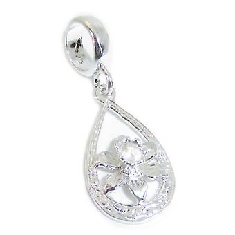 Daffodil Flower Sterling Silver Bead Charm .925 X 1 Daffs & Flowers Euro Charms - 15412