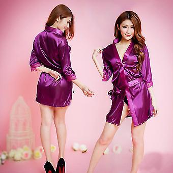 Kvinder Satin Lace Silk Blødt undertøj Lingeri Natkjole Nattøj Robe