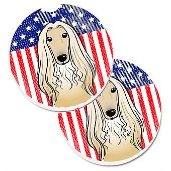 Caroline's Treasures American Flag & Afghan Hound Set di 2 Cup Holder Car Coasters BB2174CARC, 2.56, Multicolor