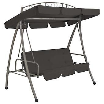 vidaXL garden swing with bed function and roof 198×120×205 cm steel