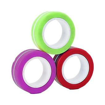 Material Certificado® 3-Pack Anel Magnético Fidget Spinner - Anti Stress Hand Spinner Toy Purple-Green-Red