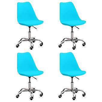 vidaXL dining chairs 4 pcs. blue leatherette
