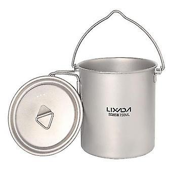 Vajilla de cocina para acampar 1100ml ultraligero de titanio olla taza de agua taza con tapa y mango plegable cocinando picnic al aire libre