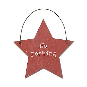 No Peeking - Mini Wooden Hanging Star - Cracker Filler Gift