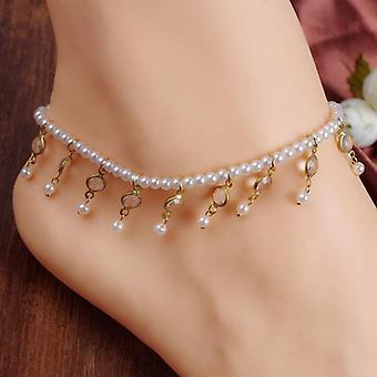 Fehér gyöngy divat boka boka karkötő női láb lánc Strand ékszerek ékszerek