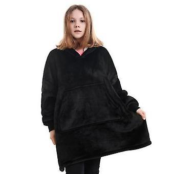 Autumn And Winter Plus Velvet Loose Mid-length Hooded Jacket Female Flannel(Black)