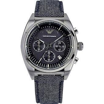 Emporio Armani AR1691 Cloth Strap Retro Gun Metal Bezel Chronograph Watch
