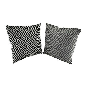 2 Pc. Black and Gray Maze Pattern Throw Pillow Set