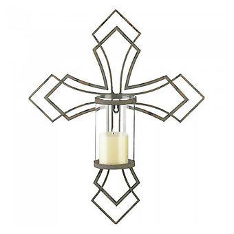 Galleri av lys moderne kors stearinlys sconce, pakke med 1