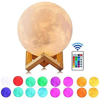 Night Light With Remote Control, With Stand And Touch Control And Usb Rechargeable Moonlight, 5.9 Inches 16 Colors Led 3d Printing Moon Light