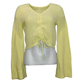 WVVY by Fitty Britttty Women's Sweater Crinch Front V Neck Yellow 729482