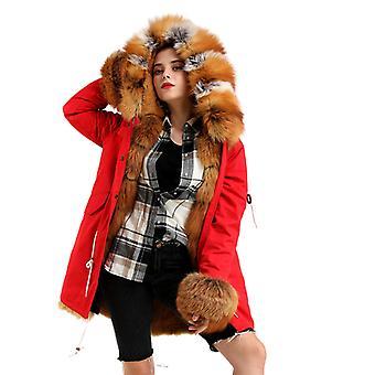 Mimigo Warm Smooth Fur Jackets Hooded Women Real Fox Fur Parka Red Fox Fur Material With Detachable Rabbit Fur Liner And Fox Fur Cuffs