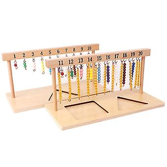 Montessori Teaching Math Toys Digitals Numbers 1-20 Hanger And Color Beads Stairs For Ten Board Preschool School Training Toys