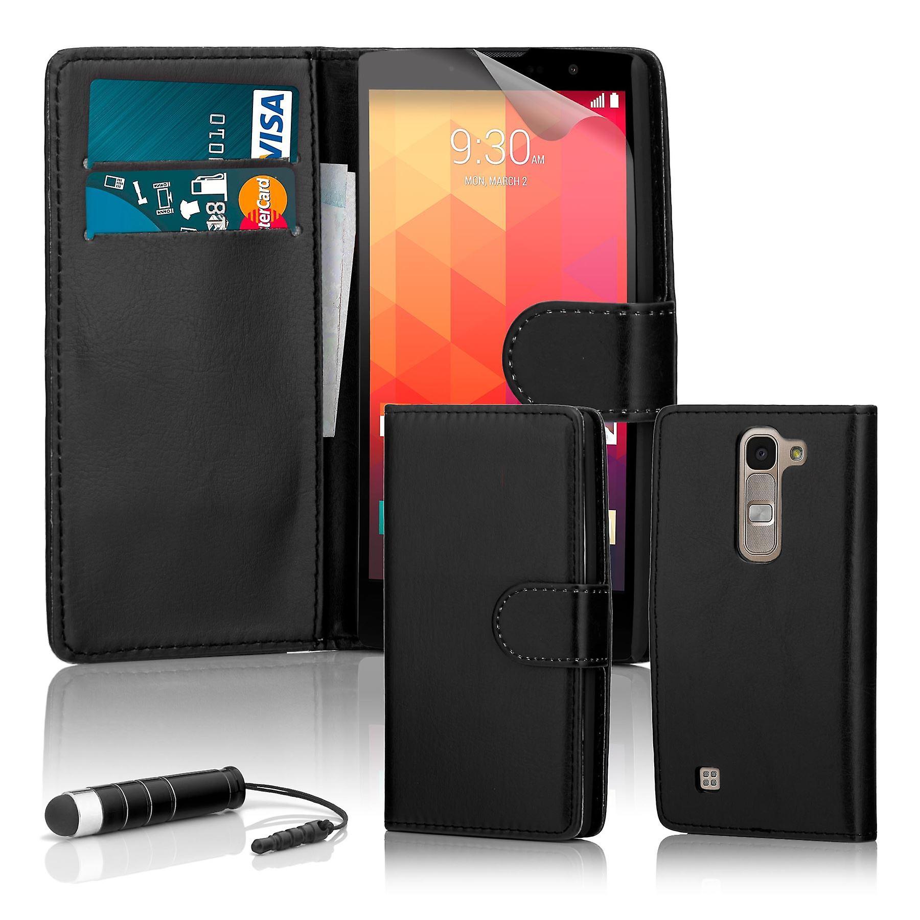 Book wallet case + stylus for LG Spirit (2015) - Black