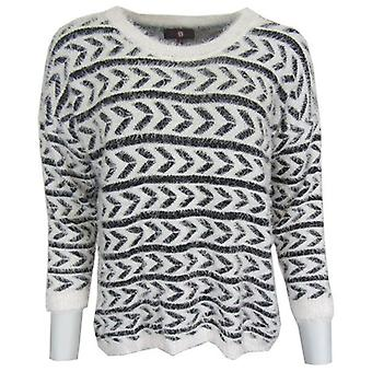 Cream Aztec Fluffy Knitted Jumper-ONE SIZE