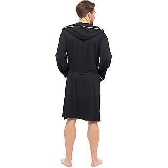 فوكسبري مينز كلاسيك تصميم مشط جيرسي القطن رداء الحمام - أسود - متوسطة كبيرة