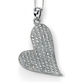 925 Silver necklace Plated Rhodium Heart Necklace