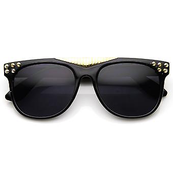 Piikki painollinen Super Retro Flat Top tumma linssin Horn reunustetut silmälasit