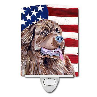 علم الولايات المتحدة الأمريكية مع ضوء الليل السيراميك نيوفاوندلاند