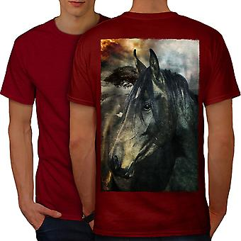 Wild Animal Horse Face Men RedT-shirt Back | Wellcoda