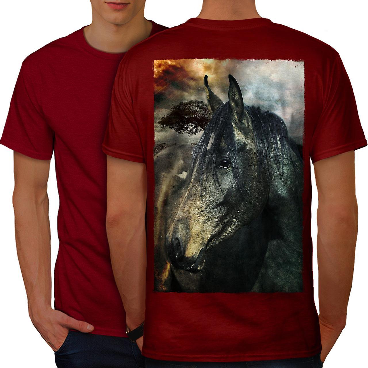 Дикие животные лошади лицо мужчины RedT рубашку обратно | Wellcoda