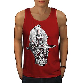 Knight Spartan Fantasy Men RedTank Top | Wellcoda