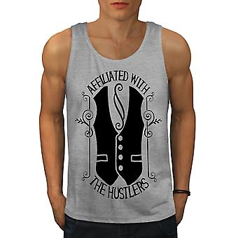 Gamers Cool Gangster Men GreyTank Top | Wellcoda