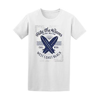 Ride The Waves West Coast Beach Surfing Tee - Image by Shutterstock
