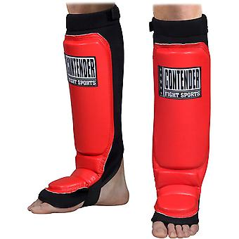 Top Contender Fight Sports MMA Grappling Shin Guards - Red
