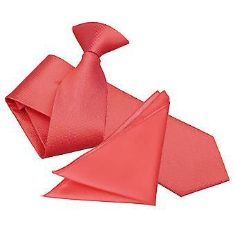 Coral Solid Check Klip på Slim Tie &; Lomme firkantet sæt