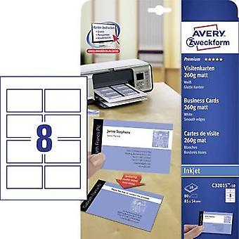 Avery-Zweckform C32015-10 بطاقات عمل قابلة للطباعة (حافة ناعمة) 85 × 54 مم الأبيض 80 كمبيوتر (أجهزة الكمبيوتر) حجم الورق: A4