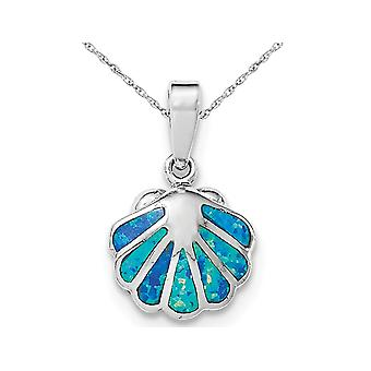 Lab Created Blue Opal Sea Shell Pendant Necklace in Sterling Silver with Chain