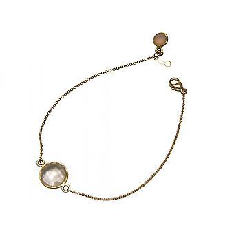 Chapado en oro pulsera pulseras--Facetada Cuarzo Rosa - Rosas - 19 cm