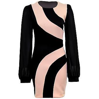 Ladies Chiffon langermet svart fersken kontrast Panel Bodycon kvinners påkledning