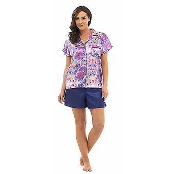 Дамы волк & Harte классические атласа цветочные печати короткий для пижамы набор Lounge износа